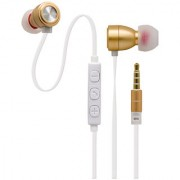 UTTOO 619 High Quality Metal Earphone With Mic Volume Control in Gold for compatible with all smart and andriod phones