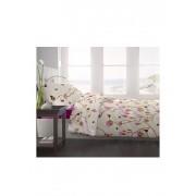 Lenjerie pentru pat matrimonial, Dormisete, Magnolia-fuchsia red, renforce imprimata, 4 fete perna, 220 x 250 cm, Rosu