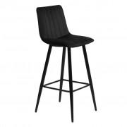 Nimara.se Enya sammet barstol i Svart med svarta ben och sitshöjd 65 cm