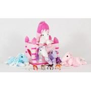 Pink Horse Castle with 5 Plush Horses and Bonus 5 Mini Horse Figures