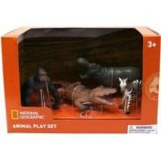 Set 4 figurine National Geographic Gorila Crocodil Pui Zebra si Hipopotam