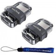 SanDisk 64 GB Ultra Dual Drive m3.0 Flash Drive USB y Micro-USB (Paquete de Dos) Funciona con Dispositivos Android y Ordenadores (SDDD3-064G-G46) con (1) cordón de Todo Menos Stromboli (TM)