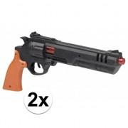 Geen 2x stuks speelgoed Dirty Harry politie pistolen 36 cm