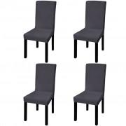 vidaXL Покривни калъфи за столове, еластични, 4 бр, антрацит