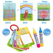 Kingseye Water Painting Graffiti Book Card 26pcs Chidren's Early Education Cognitive Cards Colouring Doodle Board 2 Magic Drawing Pens Games Toy for Toddlers Kids Baby - Number, Shapes and Colors