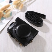 Full Body Camara Caja De Cuero De La PU Bolsa Con Correa Para Canon G9x / G9x II (negro)