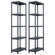 vidaXL Стелажи за съхранение 2 бр черни 125 кг 60x30x180 см пластмаса