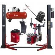 Zestaw Maszyn Automatycznych 5w1 Podnośnik Dwukolumnowy + Montażownica + Wyważarka + Podnośnik Pneumatyczny Bałwanek + Kompresor REDATS