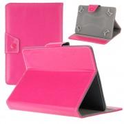 Husa Tableta 8 Inch Model X , Roz Aprins , Tip Mapa , Prindere 4 Cleme