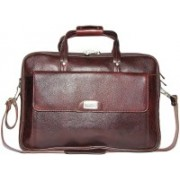 Reo Leather | Leather Laptop Briefcase Bag for Men |15.6'' Laptop Compartment| |Expandable Features| |Zipper Lock Closure | 22 Liters | Shoulder Bag(Brown, 22 L)