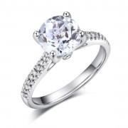 Inel Borealy Aur Alb 14K 2 CT Topaz 0.18 CT Diamante Naturale