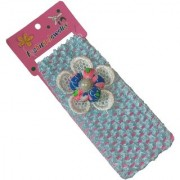 Viva Fashions Flower on crochet Head Band (Blue)