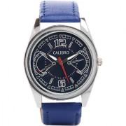 Calibro Round Dial Blue Leather Strap Quartz Watch For Men