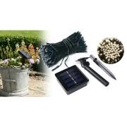 Napelemes kerti fényfüzér 100 LED-del, 10 m - különböző színekben - melegfehér