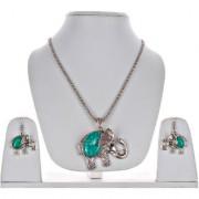Lucky Jewellery Designer Oxidised German Silver Plated Feroji Color Elephant Design Navratri Garba Jewelry Pendant Locket Set With Matching Earring Girls & Women (175-CHL1O-LJ633-BL-S)