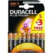 Duracell Plus Power AAA 5 Pack + 3 Gratis (MN2400B5+3)
