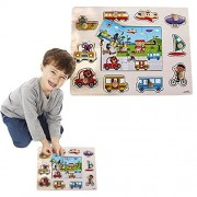 Toy Cubby Kids Toddler Wooden Pegged Jumbo Vehicles and Floor Puzzle Board Set- 2 to 3 inches vehicle puzzle piece