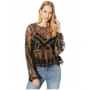 Free People Give A Little Mesh Top Black