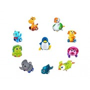 Emob 10 PCS Cute Wind-up Animal Toys Set with Winding Chain and Moving Wheels Feature Best Gift Toy for Toddlers (Assorted Color in Toy)