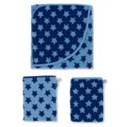3er Sparset Kapuzen Badetuch 80x80cm + 2 Waschhandschuhe blau Sterne STERNTALER 7101692