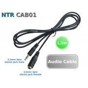 NTR CAB01 3,5mm sztereo jack dugó - 3,5mm sztereo jack aljzat audio hosszabbító kábel 1,5m