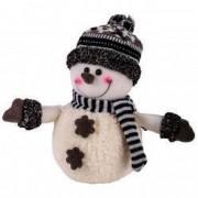 Figurina ornament craciun om zapada alb fular caciula negru