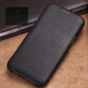 XOOMZ Curved Edge Litchi Surface Genuine Leather Cover Case for iPhone 11 6.1 inch - Black