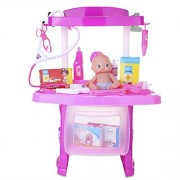 Kids Luxury Simulation Doctor Nurse Medical Tools Playset Kit Pretend Role Play Game Toy Set for Children - Pink