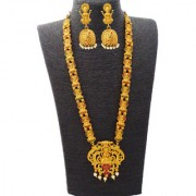Temple Designer Kemp Golden Matte Polished Laxmi Ji Traditional Pendant Long Ruby Green Necklace with Two Peacocks Jewellery Set