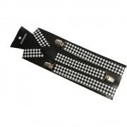 Bretele alb-negru cu romburi