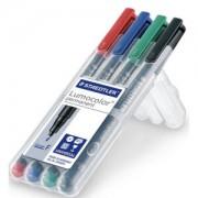Staedtler Lumocolor® Universalstift, permanent, Permanentstift hervorragend wisch- und wasserfest auf fast allen Flächen, 1 Packung = 4 Stück, farbig sortiert, S