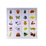 Puzzle din lemn animale, fructe, legume, varsta 12 luni+, multicolor, coordonare mana- ochi