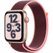 Smartwatch Apple Watch SE GPS + Cellular, 40mm, 4G, Carcasa Gold Aluminium, Bratara Plum Sport Loop