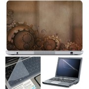 Finearts Laptop Skin 15.6 Inch With Key Guard & Screen Protector - Gear On Brown