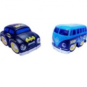 Emob Pull Back Black Cartoon Printed Metal Model Car and Van Toy with Light and Sound Features (Multicolor)
