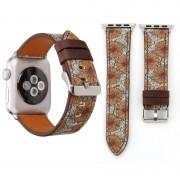 Voor Apple Watch serie 3 & 2 & 1 42mm Retro bloem serie chrysant patroon pols horloge echt lederen Band