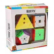 CuberSpeed Speedcubing Bundle MoFang JiaoShi Megaminx & Skewb 3X3 & Square-1 & Pyramid Stickerless Bright Magic cube Cubing Classroom Stickerless speed cube set with Gift Packing