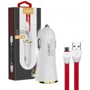LDNIO C28 Wit 2 USB Port Autolader 3.4A met 1 Meter Micro USB Kabel geschikt voor o.a CAT S31 S41