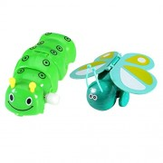 MagiDeal 2Pcs Wind-Up Caterpillar & Butterfly Model Toy for Kids Party Filler