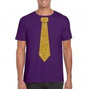 Bellatio Decorations Stropdas t-shirt paars met glitter das heren 2XL - Feestshirts