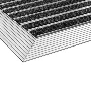 Černo-stříbrná textilní vstupní vnitřní čistící rohož s hliníkovým rámem - délka 45 cm, šířka 75 cm a výška 1,5 cm