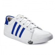 Cyro Men's White & Blue Canvas New Look Casual Shoes