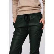 Pantaloni SunShine verzi casual cu talie medie cu elastic in talie imitatie de piele