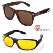Ediotics Classic Brown Wayfarer Yellow Night Driving Sunglasses