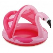 Merkloos Flamingo zwembad met dakje opblaasbaar 103 cm baby/kinderen