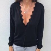 Suéteres Abiertos De Color Solido Con Encaje Para Mujer - Negro