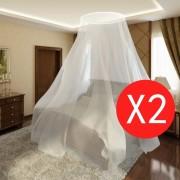vidaXL Мрежа против комари за легло, 2 бр, кръгла, 56x325x230 см