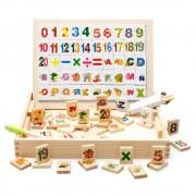 Cutie de lemn tabla magnetica cu litere si cifre