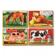 Melissa & Doug - Set 4 puzzle lemn in cutie - Animale domestice