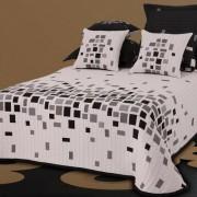 Cuvertură de pat Derby alb-negru, 140 x 220 cm + 1 buc. 40 x 40 cm, 140 x 220 cm